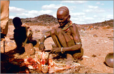 A turkana slaughtering a goat